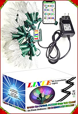 LIXLE PERFECT HOLIDAYS! 50 Christmas LED Lights String For Any MOOD or ROOM! EASY CONTROL by Your Phone With OVER 100 SETTINGS! LONG LASTING with LEDDIRECT Technology for Patio, Tree, or Bedroom!