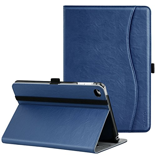 Ztotop for iPad Mini 4 Case, Leather Folio Stand Protective Case Smart Cover with Multi-Angle Viewing, Paperwork Card Pocket, Functional Elastic Strap for iPad Mini 4 - Navy Blue