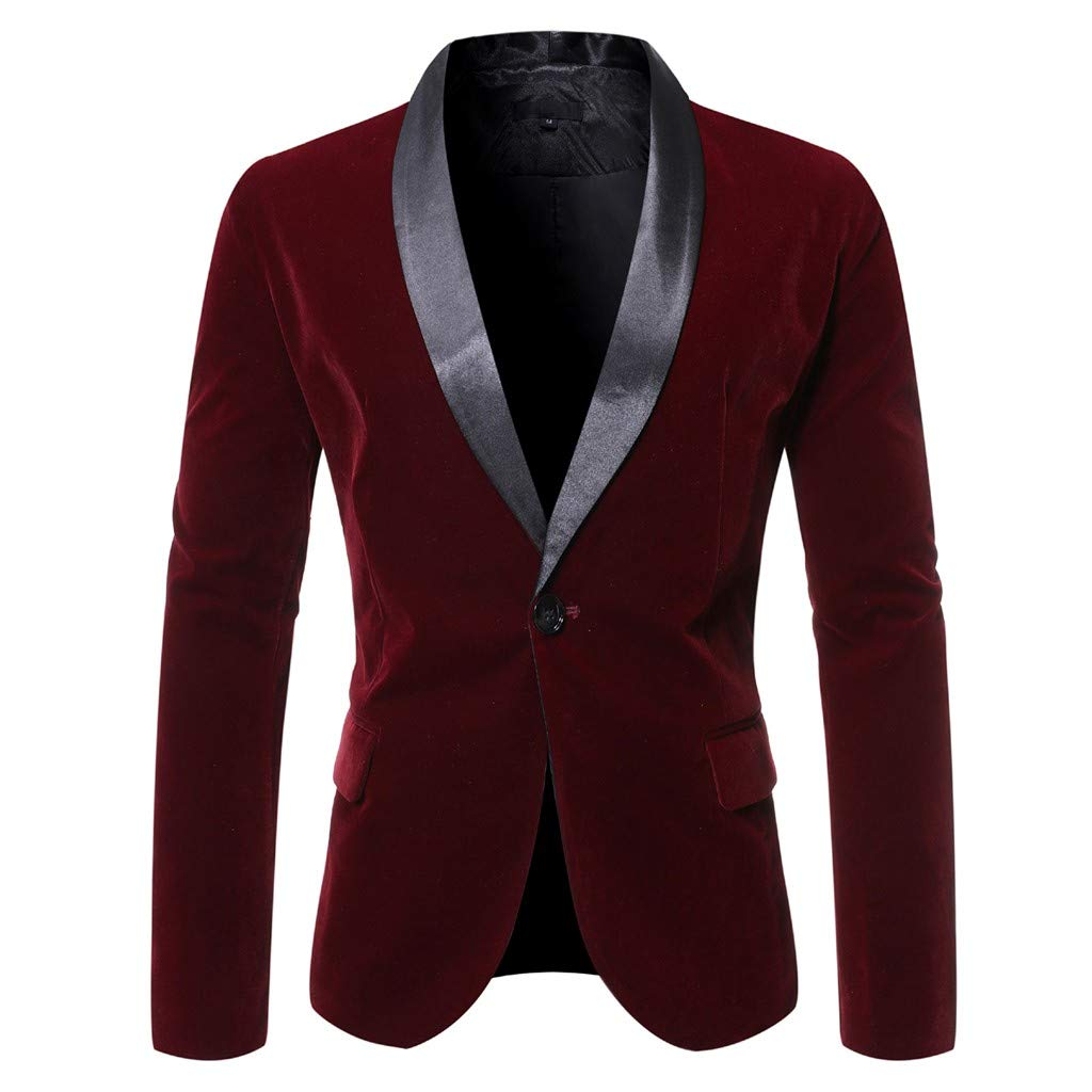 WINJUD Mens Blazer Slim One Button Patchwork Suit for Business Wedding Party Outwear (B Wine,2XL) by WINJUD