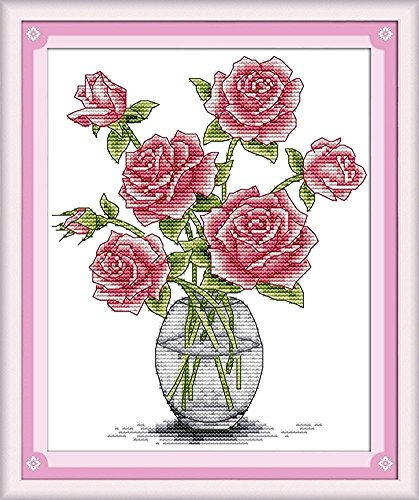 CaptainCrafts New Cross Stitch Kits Patterns Embroidery Kit - Pink Roses In Vase (WHITE)