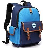 Primary School Bag for Boys Girls 5-12 years old, Kids Childrens Backpack Book Bag, Uniuooi Multiple Compartments Nylon Schoolbag Waterproof Travel Rucksack (Large, Blue)