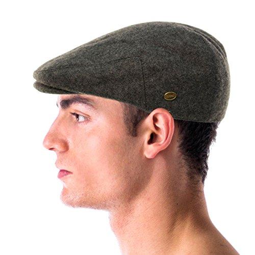 Men's Winter 100% Soft Wool Solid Flat Ivy Driver Golf Cabby Cap Hat Medium Charcoal
