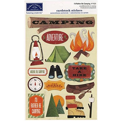 (KAREN FOSTER Design Acid and Lignin Free Scrapbooking Sticker Sheet, I'd Rather be Camping)