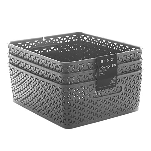 BINO Woven Plastic Storage Basket, Medium – 3 PACK (Integrated Media Storage)
