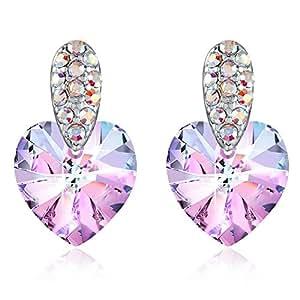 Swarovski Heart Earrings Woman Birthday Gift Stud Earrings Birthstone Woman with Swarovski Crystals Purple Blue