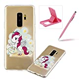 Soft TPU Case for Samsung Galaxy S9 Plus,Shock-Absorbing Rubber Case for Samsung Galaxy S9 Plus,Herzzer Stylish Slim Fit Cartoon Pony Pattern Shockproof Scratch Resist Flexible Silicone Back Cover