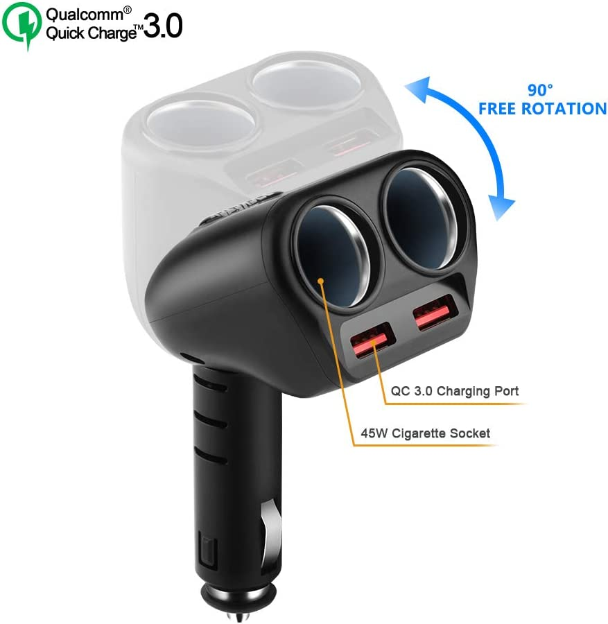 Rocketek Cigarette Lighter Splitter Dual USB Quick Charge 3.0 Car Charger Adapter with 2 Way Car Outlet Splitter Adapter, 90W 12V/24V DC Outlet 2-Socket Car Cigarette Lighter DC Splitter for Car