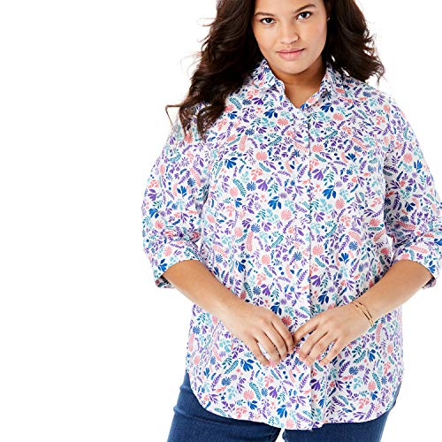 Woman Within Women's Plus Size Printed Three-Quarter Sleeve Perfect Shirt - Blue Fern Leaf, L