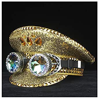 SHENTIANWEI Steampunk Men Women Police Hat with Metal Classes Outdoor Performance Hat Military Hat Captain Hat 3 Size (Color : Gold, Size : 57)