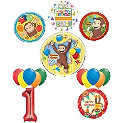 Mayflower Products The Ultimate 16pc Curious George 1st birthday party Supplies and Balloon Decorations