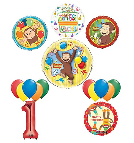 Mayflower Products The Ultimate 16pc Curious George 1st birthday party Supplies and Balloon Decorations ()