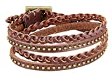 Gracallet® Dark Brown Fashion Punk Rock Rivets Multilayer Pu Leather Material Bracelet Cuff Wristband for Men, Women, Boys, Girls