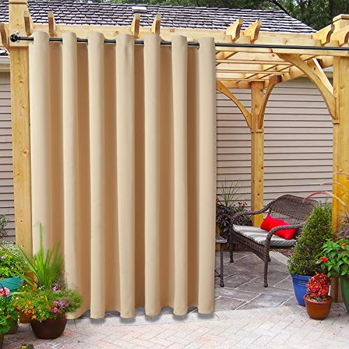 FLOWEROOM Indoor/Outdoor Grommet Blackout Curtains for Patio, Pergola and Cabana