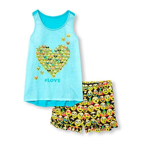 The Children's Place Big Girls' Top and Shorts Pajama Set, Softmarine, S ()