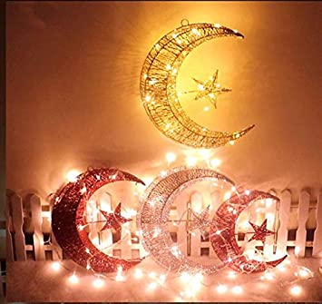 ODOSAN Christmas Tree Topper Glitter Powder Star and Moon Treetop with Lights Gold 20CM YULE