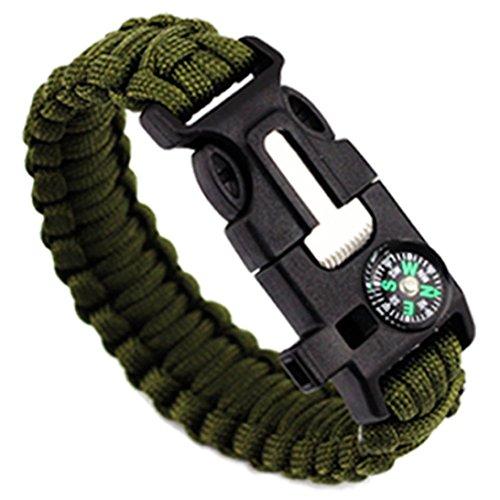 Botrong 5 in 1 Women Men Outdoor Rope Survival Gear Escape Bracelet Flint/Whistle/Compass (D)
