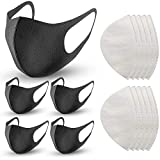 5 Pack Face Masks, 10 Replacement N95 Reusable Mask Filter, Air Filtration Mask Anti Dust Face Mouth Masks Particulate Mask for Smoke, Black Face Mask for Cycling, Sport, Travel, Daily Life: more info