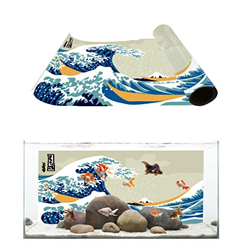 Aquarium Background Japanese Style Roaring Ocean Waves and Mount Fuji Fish Tank Wallpaper Easy to Apply and Remove PVC Sticker Pictures Poster Background Decoration 18.4