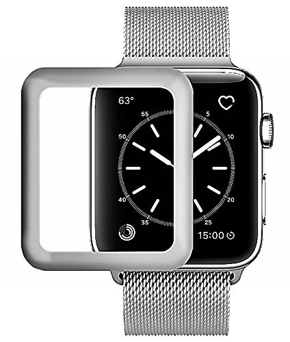 Lcd Scratch Guard - Josi Minea Apple Watch [ 38mm ] 3D Curved Tempered Glass Screen Protector with Edge to Edge Coverage Anti-Scratch Ballistic LCD Cover Guard Premium HD Shield for Apple Watch [ 38mm - Silver ]