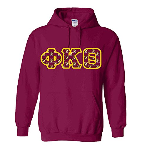 Phi Kappa Theta Fraternity Crest Twill Letter Hooded Sweatshirt Medium ()