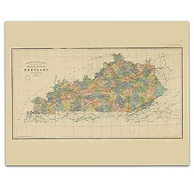 Kentucky Vintage Map Circa 1887-11 x 14 Unframed Print - Great Housewarming Gift. Kentucky Themed Office Decor.