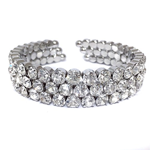 Gypsy Jewels Rhinestone Silver Tone Formal Prom Pageant Bling Cuff Bracelet (3 Row - Rhinestone Jewel Tone