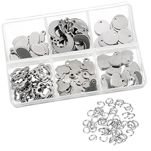 Satinior 120 Pieces Stainless Steel Stamping Blanks Tag Pendants and 100 Pieces Opening Jump Rings for Bracelet Earring Pendant Charms Metal Stamping Blanks