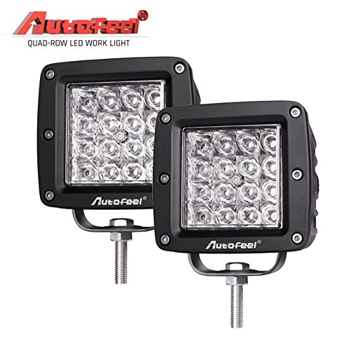 LED Light Bar, Autofeel 4 144W 12 D Quad Row Offroad LED Light Bar Work Light Driving Light Fog Light Snow Light Spot Beam for Jeep, Truck, Heavy Duty, Pack of 2