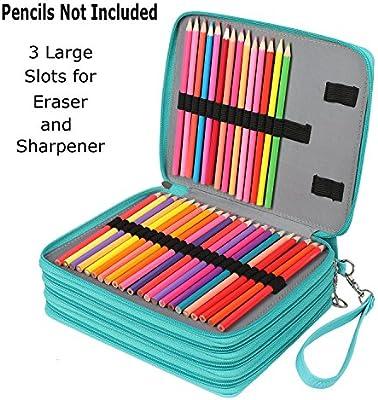 Soucolor 168 Slots Pencil Case PU Leather Handy Pencil Wrap with Zipper Super Large Capacity Pen Bag for Prismacolor Premier Colored Pencils Marco Pens Black Crayola Colored Pencils