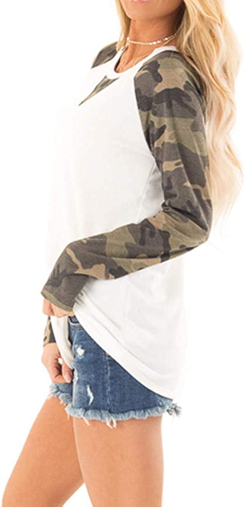 Leopard Print Blouse Tees for Women Miuye Yuren Round Neck Splice Long Sleeve T Shirt Casual Tees Tees