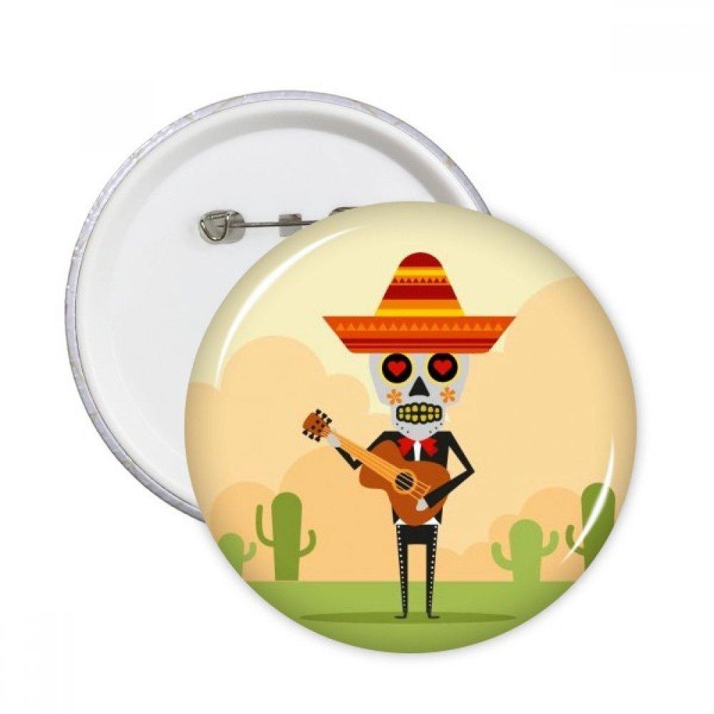 Cactus Hat Skull Spielen Gitarre Mexiko Happy the day of the dead Illustration rund Pins Badge Button Kleidung Dekoration Geschenk 5/X L