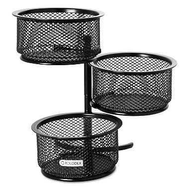 Rolodex - 3 Tier Wire Mesh Swivel Tower Paper Clip Holder, 3 3/4 x 6 1/2 x 6 - Black