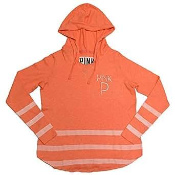 Victoria's Secret Pink Women's Hoodie Lightweight Sweater Knit Sweatshirt Orange M