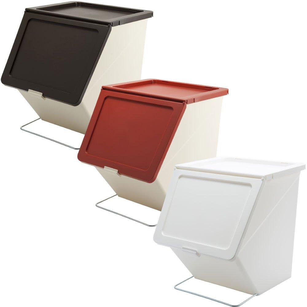 スタックストー ペリカン ガービー 38L 全6色の中から選べる3個セット ゴミ箱 ごみ箱 ダストボックス おしゃれ ふた付き stacksto pelican (ブラウン×レッド×ホワイト) B0759KC951 ブラウン×レッド×ホワイト ブラウン×レッド×ホワイト