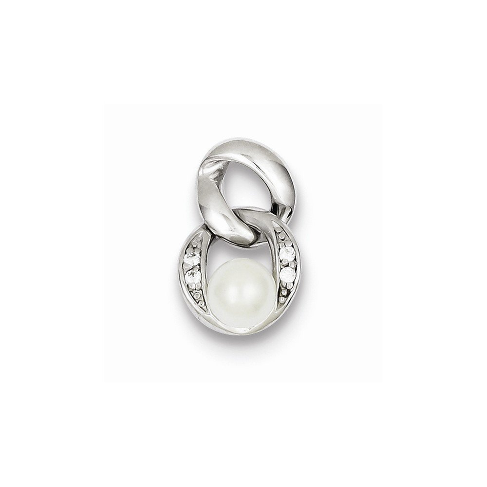 925 Sterling Silver White Synthetic Simulated Pearl Pendant 18mm x 11mm