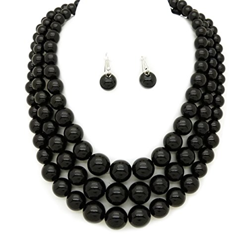 Fashion 21 Women's Three Multi-Strand Simulated Pearl Statement Necklace and Earrings Set (Black)