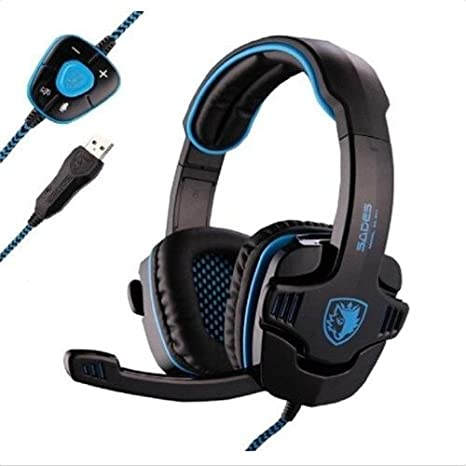 029c085e3db Amazon.com: Sades Stereo 7.1 Surround Pro USB Gaming Headset with Mic  Headband Headphone (Black): Computers & Accessories