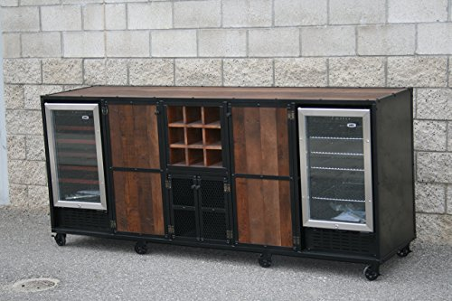 Vintage industrial refrigerator liquor cabinet. Modern wine bar. Industrial credenza. Reclaimed wood. (Cart Refrigerated)
