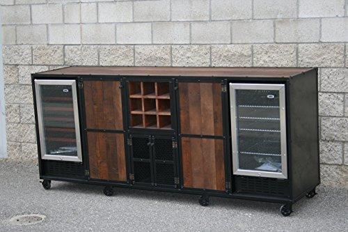 Vintage industrial refrigerator liquor cabinet. Modern wine bar. Industrial credenza. Reclaimed wood. (With Refrigerator Bar Wine Cabinet)