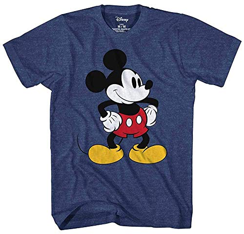 T-shirt World Mickey Mouse - Mickey Mouse Tones Graphic Tee Classic Vintage Disneyland World Mens Adult T-shirt Apparel (Navy Heather, Small)