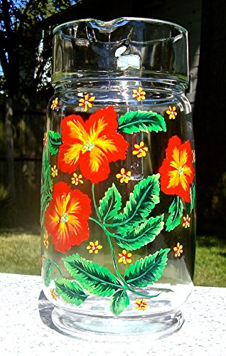 Hand Painted Glass Pitcher (Hand Painted Glass Pitcher With Red And Yellow)