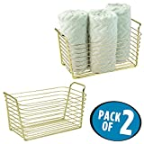 mDesign Storage Basket Bin with Built-in Handles for Organizing Hand Soaps, Body Wash, Shampoos, Lotion, Conditioners, Hand Towels, Hair Accessories, Body Spray - Medium, Pack of 2, Gold/Brass