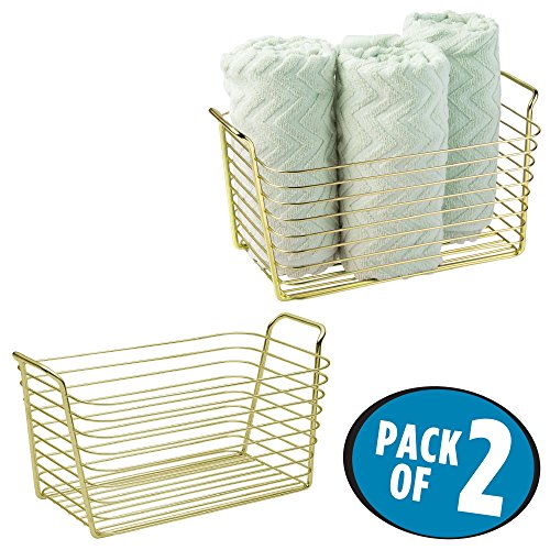 mDesign Storage Basket Bin with Built-in Handles for Organizing Hand Soaps, Body Wash, Shampoos, Lotion, Conditioners, Hand Towels, Hair Accessories, Body Spray - Medium, Pack of 2, Gold/Brass by mDesign