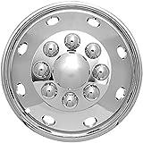 "16"" Wheel Simulator for Dually Trucks, Motorhome, RV Trailer & Vans - OEM Genuine Factory Replacement - Easy Snap On - Universal 8 Lug Chrome Wheel Cover"