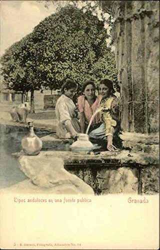 Andalucian Women at Public Fountain Granada, Spain Original Vintage Postcard