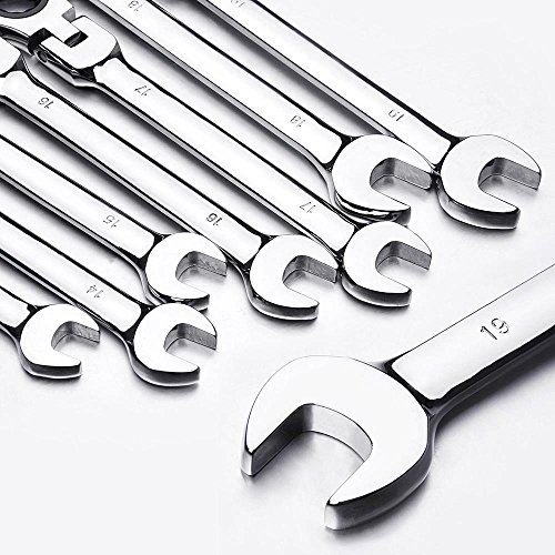 Yescom 12pc 8-19mm Metric Flexible Head Ratcheting Wrench Combination Spanner Tool Set by Yescom (Image #8)
