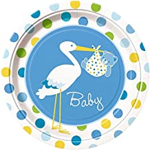 "Custom & Unique {9"" Inch} 8 Count Multi-Pack Set of Medium Size Round Circle Disposable Paper Plates w/ Spotted Stork Delivering Baby Boy Bear Swaddled in Blanket ""Pink, White, Green & Yellow Colored"""