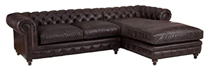 Superb Amazon Com Vintage Leather Sectional Roll Back Chaise Sofa Download Free Architecture Designs Scobabritishbridgeorg