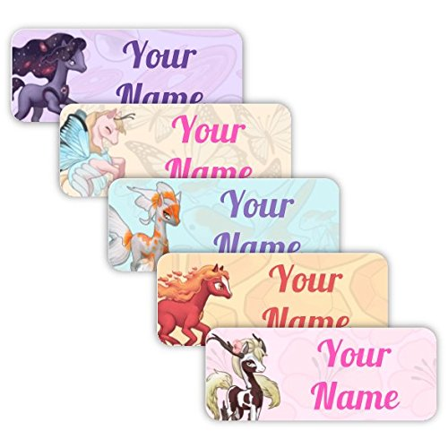 Pegasus Labels - Original Personalized Peel and Stick Waterproof Custom Name Tag Labels for Adults, Kids, Toddlers, and Babies - Use for Office, School, or Daycare (Magic Ponies Theme)
