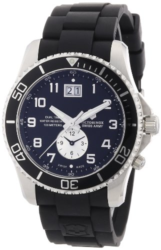 Victorinox Swiss Army Men's 241440 Maverick GS Dual Time Black Double Date Dial Watch, Watch Central